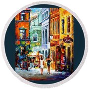 Morning Gossip - Palette Knife Oil Painting On Canvas By Leonid Afremov Round Beach Towel