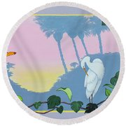 Morning Heron Round Beach Towel