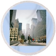Morning In Manhattan Round Beach Towel