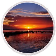 Morning In Red Round Beach Towel
