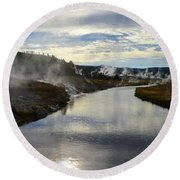 Morning In Upper Geyser Basin In Yellowstone National Park Round Beach Towel