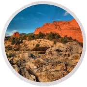 Morning Light At Garden Of The Gods Round Beach Towel
