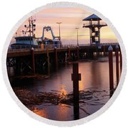 Morning Light At Port Angeles Round Beach Towel