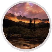 Morning Light Maligne Pass Round Beach Towel