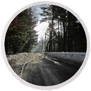 Morning Light On The Road Round Beach Towel