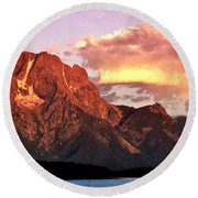 Morning Light On The Tetons Round Beach Towel by Marty Koch