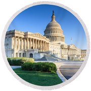 Powerful - Washington Dc Morning Light On Us Capitol Round Beach Towel