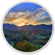 Morning Light Over Leicester Round Beach Towel