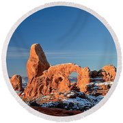 Morning Looking Out The Window Round Beach Towel