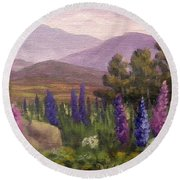 Morning Lupines Round Beach Towel
