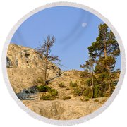 Morning Mammoth Moon Round Beach Towel