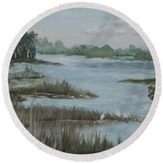Morning Marsh At Babcock Ranch Round Beach Towel