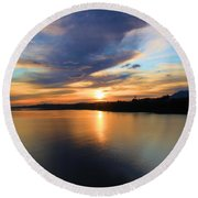 Morning Mirror Round Beach Towel