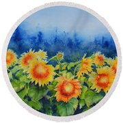 Morning Mist 2 Round Beach Towel
