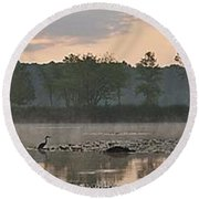 Morning Mist I Round Beach Towel