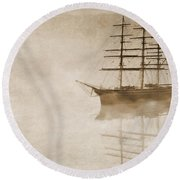 Morning Mist In Sepia Round Beach Towel