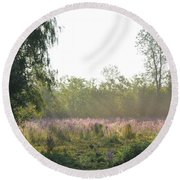 Morning Mist In The Pasture Round Beach Towel
