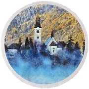 Morning Mist On The Island Round Beach Towel