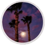 Morning Moon Round Beach Towel