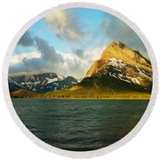 Morning Mountains At Many Glacier Round Beach Towel