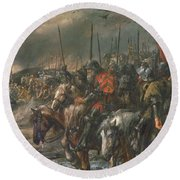 Morning Of The Battle Of Agincourt, 25th October 1415, 1884 Oil On Canvas Round Beach Towel