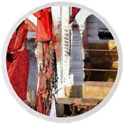 Morning Offerings - Narmada River Source - Amarkantak India Round Beach Towel