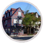 Morning On 2nd Street Solvang California Round Beach Towel