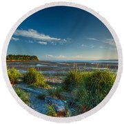 Morning On The Beach Round Beach Towel by Randy Hall