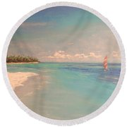 Morning On The Beach Round Beach Towel