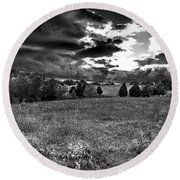 Morning On The Farm Two Bw Round Beach Towel