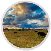 Morning On The Farm Two Round Beach Towel