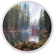 Morning On The Merced Round Beach Towel
