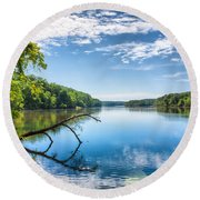 Morning On The River Round Beach Towel