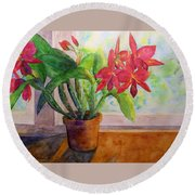 Morning Orchids Round Beach Towel