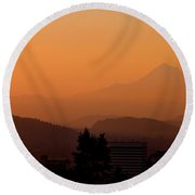 Morning Over Portland Round Beach Towel
