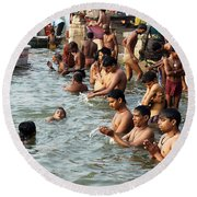 Morning Prayers And Ablutions Round Beach Towel