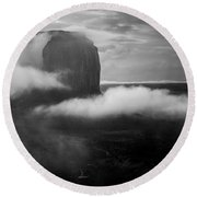 Morning Rain In Monument Valley Round Beach Towel