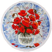 Morning Red Poppies Original Palette Knife Painting Round Beach Towel