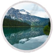 Morning Reflection In Emerald Lake In Yoho National Park-british Columbia-canada Round Beach Towel