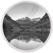 Morning Reflections Bw Round Beach Towel