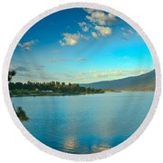 Morning Reflections On Lake Cascade Round Beach Towel
