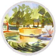 Morning Ripples At Ste. Marie Du Lac Pond Round Beach Towel