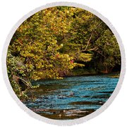 Morning River Round Beach Towel