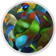 Morning Rooster Round Beach Towel