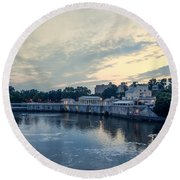 Morning Skies On The Fairmount Waterworks Round Beach Towel