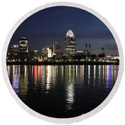 Morning Skyline Wo Bridge I Round Beach Towel