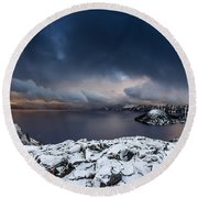 Morning Storm At Crater Lake Round Beach Towel