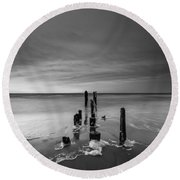 Morning Suds Bw Round Beach Towel