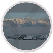 Morning Sun On Utah Mountains Round Beach Towel