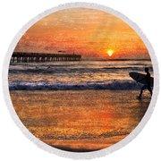 Morning Surf Round Beach Towel